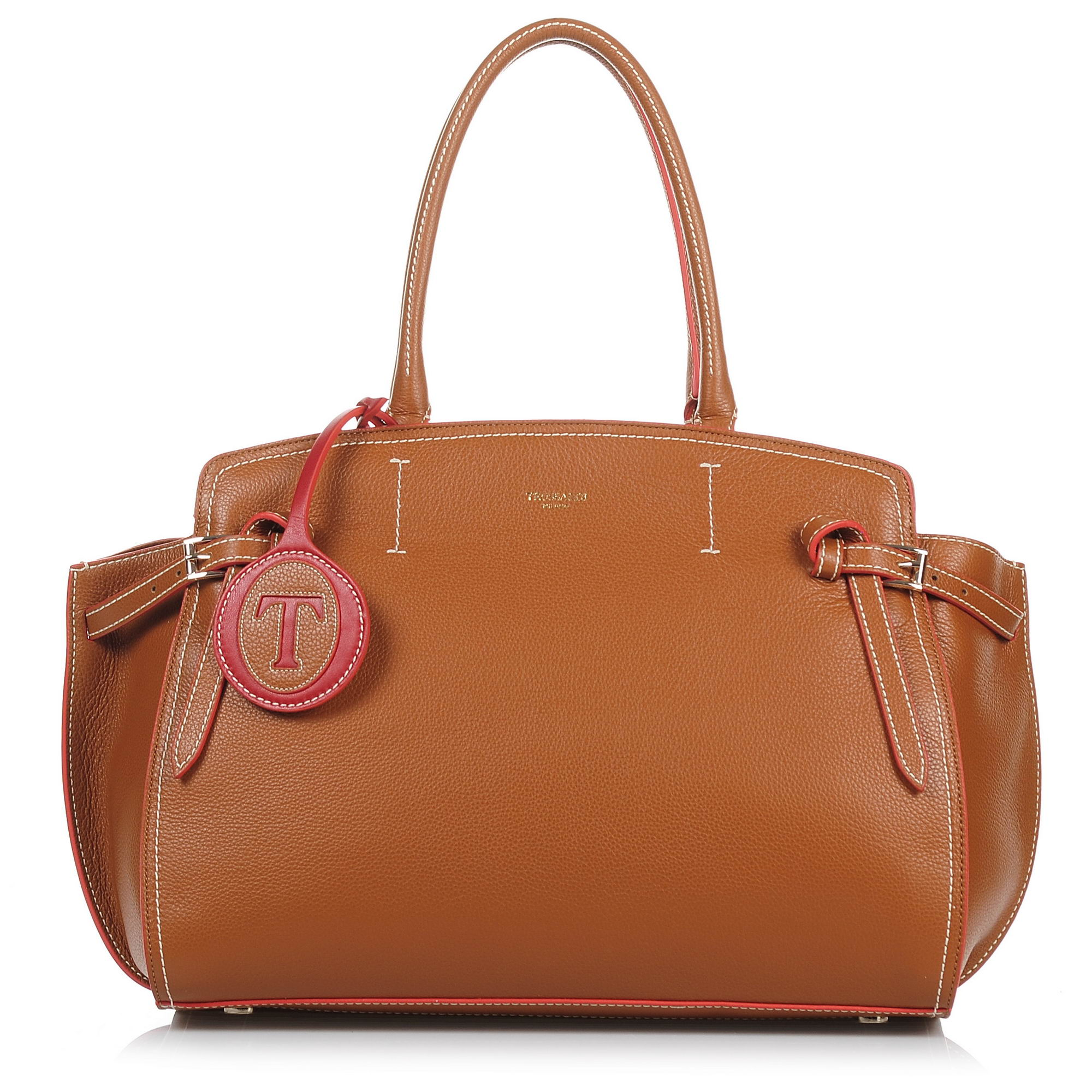 Δερμάτινη Tote Τσάντα Trussardi Gita Satchel Bag Maxi Calf Leather Bicolor 76B00 γυναικα   γυναικεία τσάντα