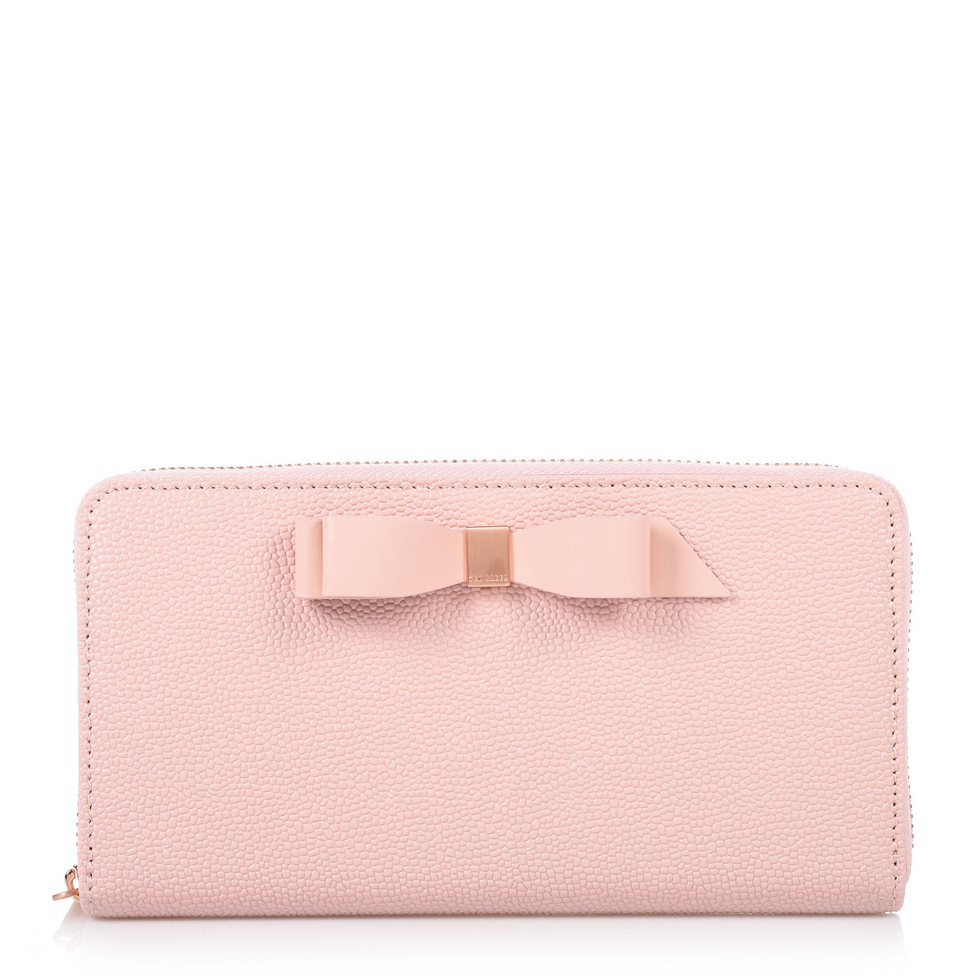 Brand Bags Δερμάτινο Πορτοφόλι Κασετίνα Ted Baker Bow Zip Around Marinee  150982 9bd911b2eaa