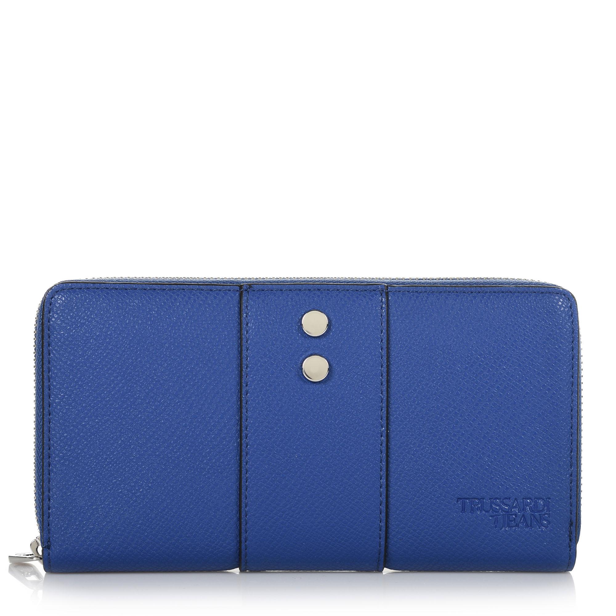 Δερμάτινο Πορτοφόλι Κασετίνα Trussardi Jeans Berry Zip 3 Pocket LG 75W00125