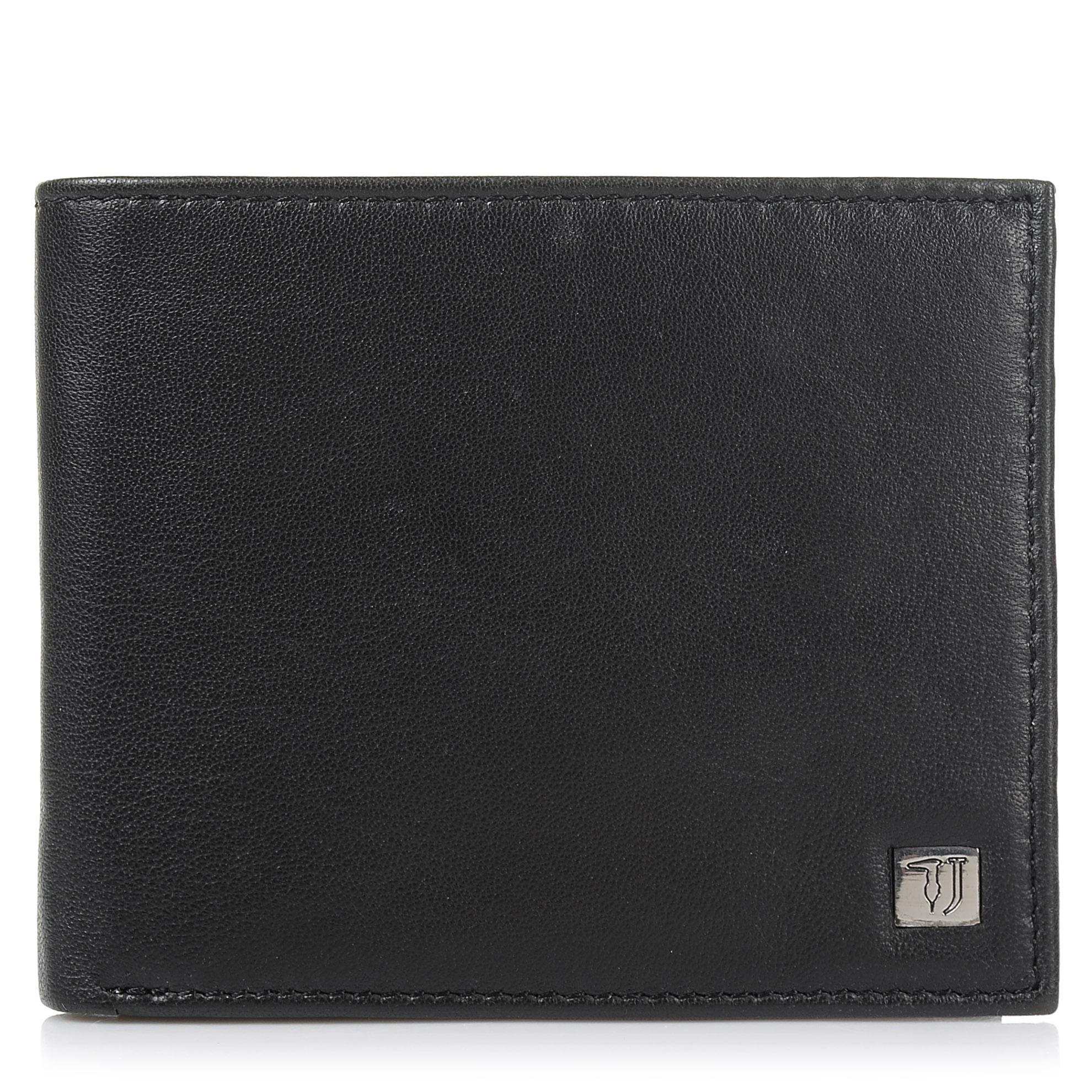 Δερμάτινο Πορτοφόλι Trussardi Jeans Wallet Trifold Smooth 71W00006 ανδρας   ανδρικό πορτοφόλι