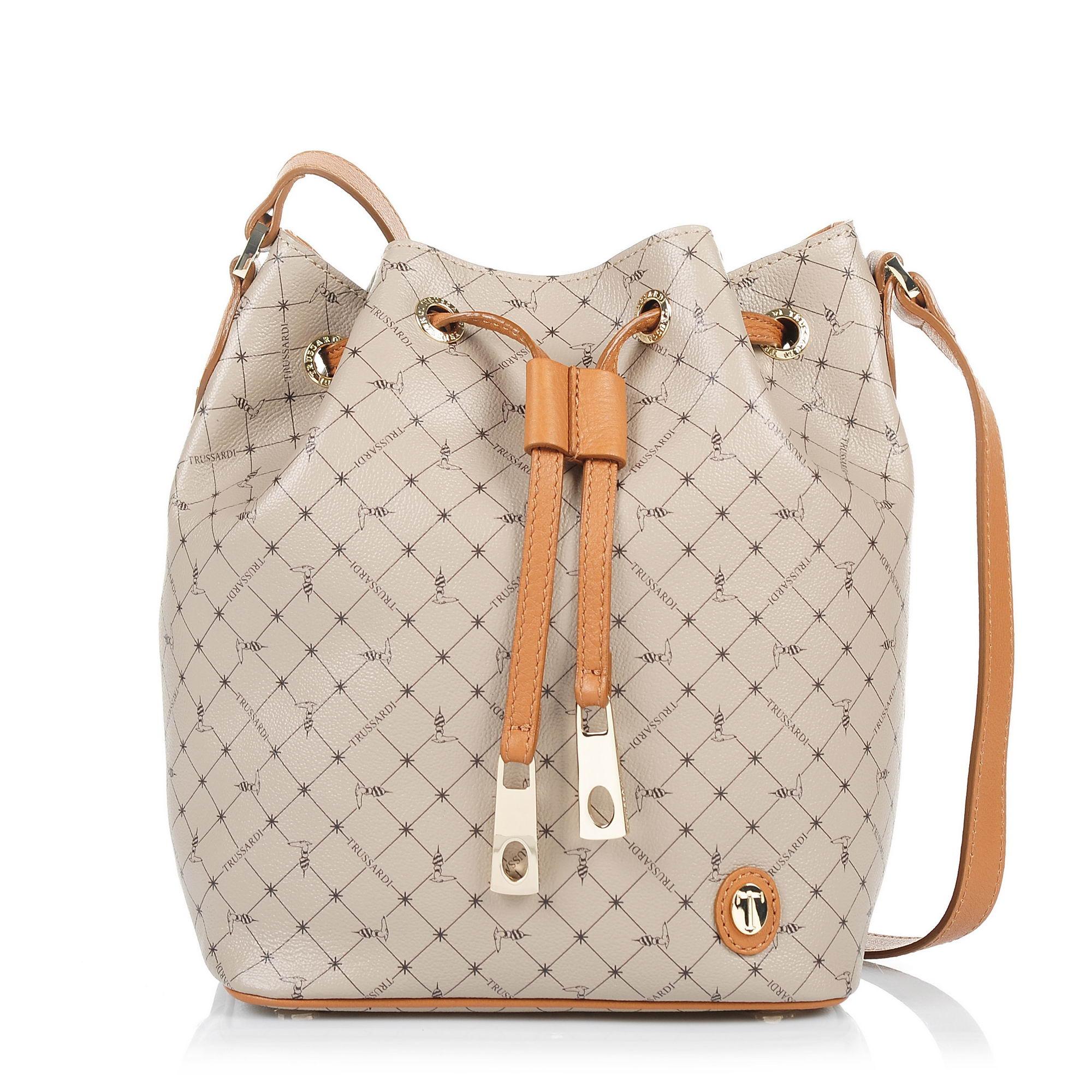 Δερμάτινο Πουγκί Trussardi Mini Bucket Monogram Crepe LeatherVelvet Calf Leather γυναικα   γυναικεία τσάντα