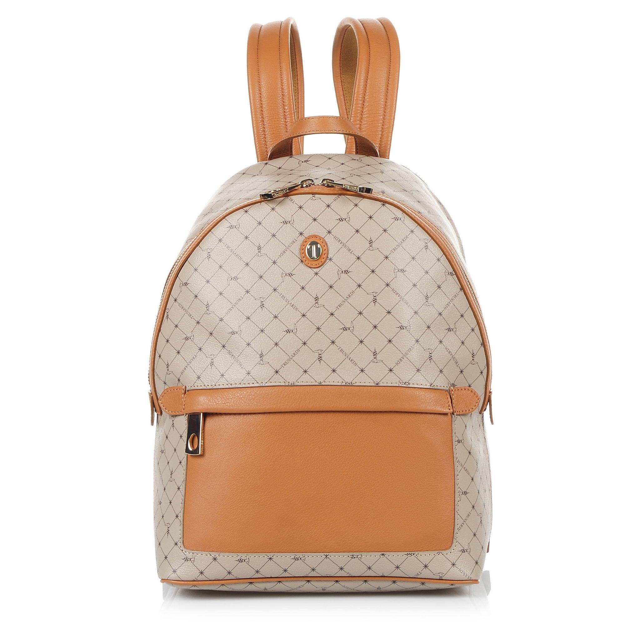 Δερμάτινο Σακίδιο Πλάτης Trussardi Mini Backpack Monogram Crepe Leather/Velvet C γυναικα   γυναικεία τσάντα