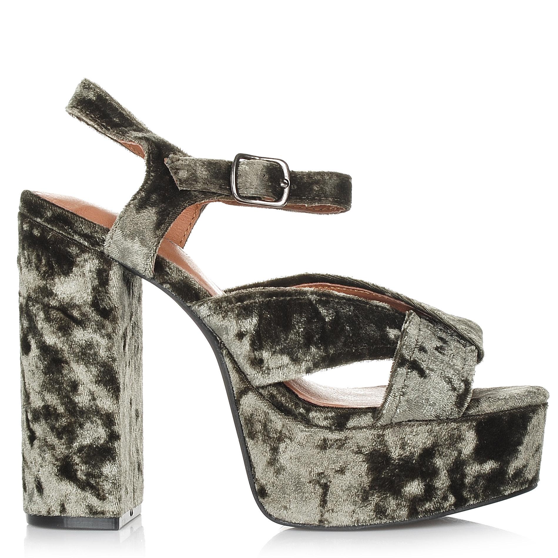 Πέδιλα Jeffrey Campbell Velvet Amalia V Platform Sandals γυναικα   γυναικείο παπούτσι