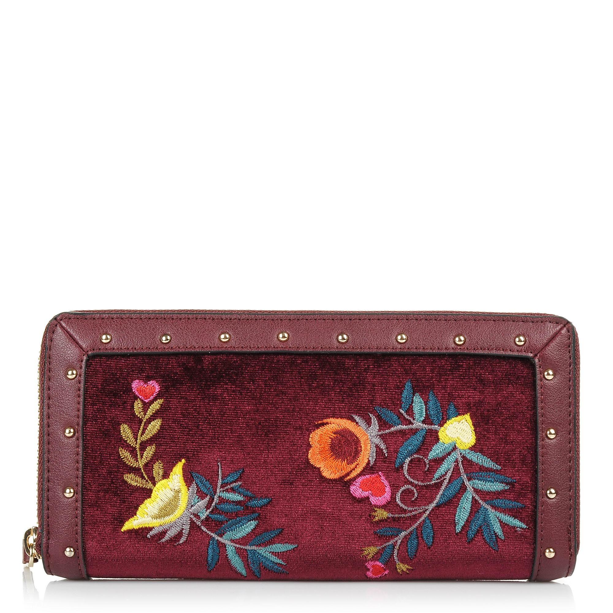 Πορτοφόλι Trussardi Jeans Portulaca Velvet/Embroidery Zip Around Wallet 75W00091