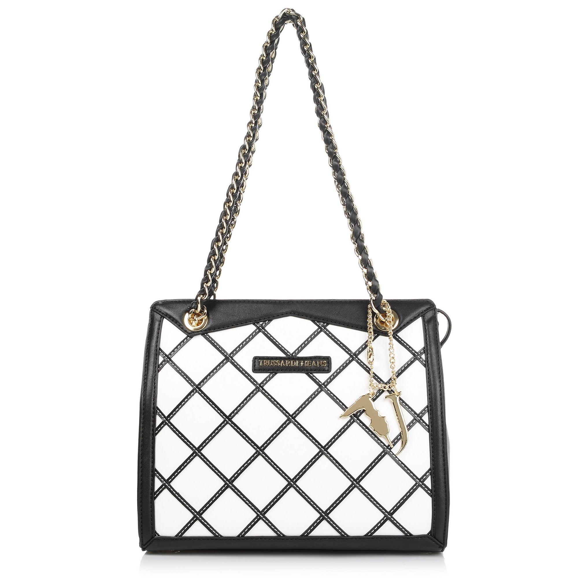 Τσάντα Ώμου Trussardi Jeans Saint Tropez Ecoleather Geometric Tote Medium Bag 75B00198