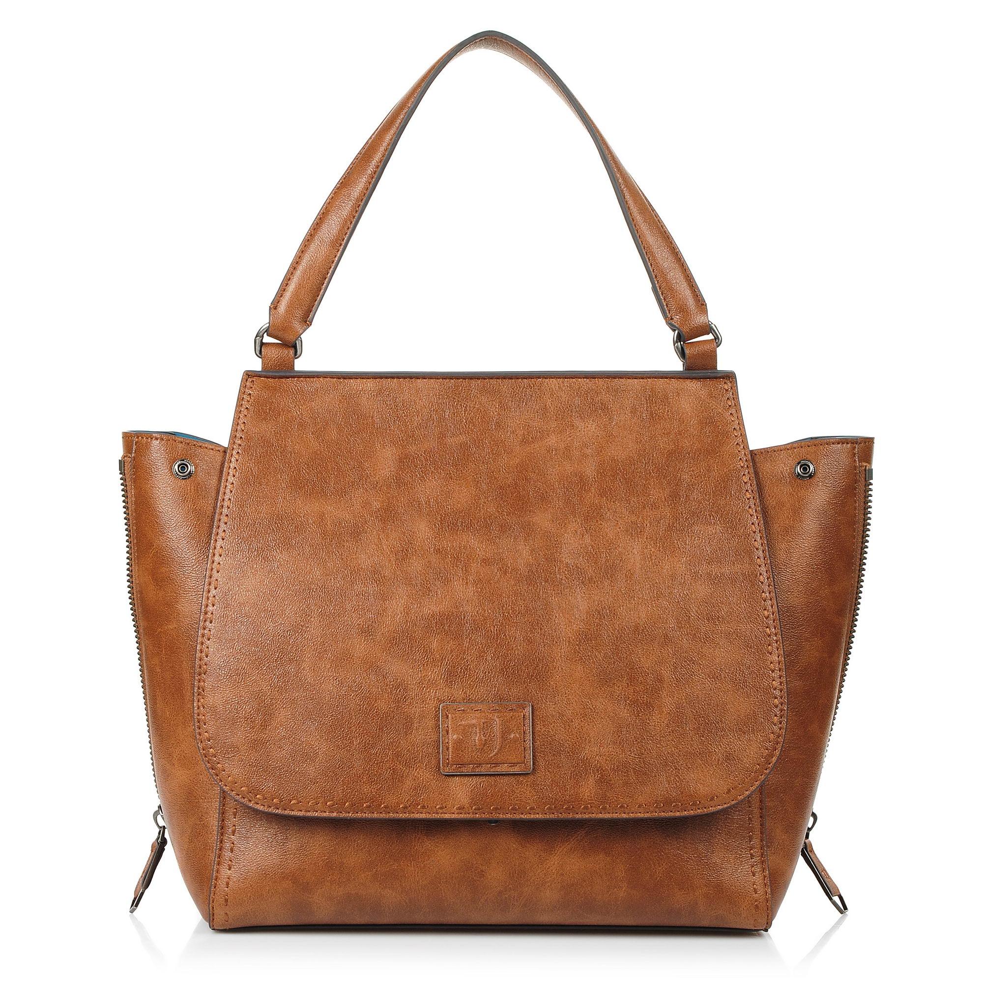 Τσάντα Ώμου Trussardi Jeans Zenzero Handle Bag Ecoleather Tumbled 75B00496 γυναικα   γυναικεία τσάντα