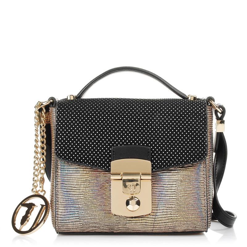 Τσαντάκι Ώμου - Χιαστί Trussardi Jeans Levanto Iridescent Lizard/Suede Mini Bag  γυναικα   γυναικεία τσάντα